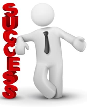 3d business man presenting word success concept