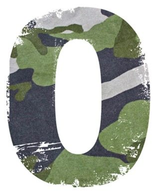 0, number from military fabric texture on white background.