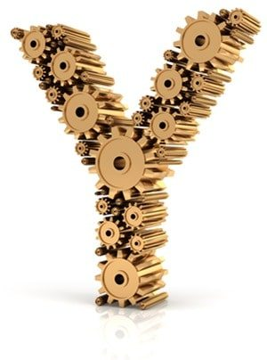 Alphabet Y formed by gears