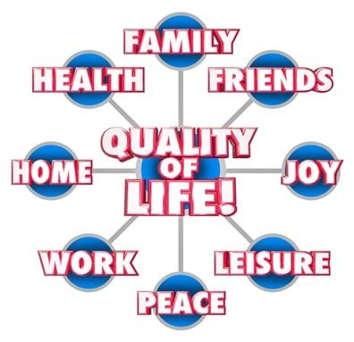 Quality of Life Diagram Firends Family Home Enjoyment Happiness